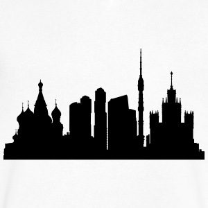 moscow silhouette 2 - Men's V-Neck T-Shirt by Canvas