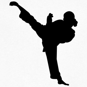 Karate fighter silhouette 5 - Men's V-Neck T-Shirt by Canvas