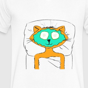 Spa Cat - Men's V-Neck T-Shirt by Canvas