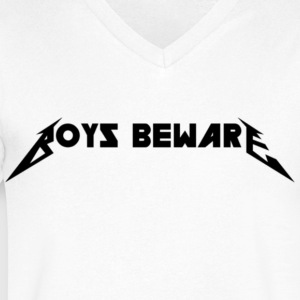Boys Beware - RIDE THE WHITENING - Men's V-Neck T-Shirt by Canvas