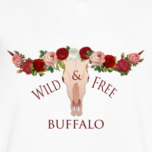 Buffalo bohemian floral crown - Men's V-Neck T-Shirt by Canvas