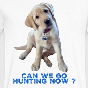 Yellow lab, Can we go Hunting Now - Men's V-Neck T-Shirt by Canvas