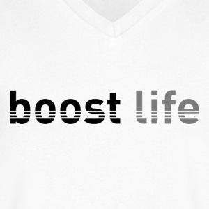 Black/Grey Boost Life Short Sleeve T-Shirt - Men's V-Neck T-Shirt by Canvas