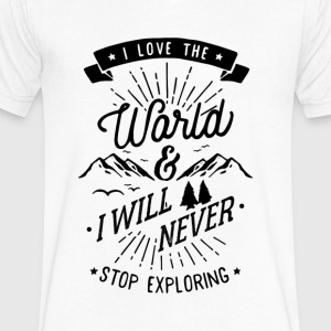 Never Stop exploring - Men's V-Neck T-Shirt by Canvas