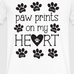 Pawprint Heart - Men's V-Neck T-Shirt by Canvas