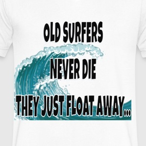 Old Surfers Never Die They Just Float Away... - Men's V-Neck T-Shirt by Canvas