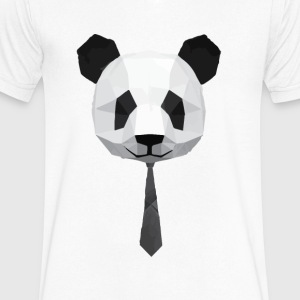 Panda in a suit - Men's V-Neck T-Shirt by Canvas