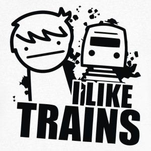 I LIKE TRAINS - Men's V-Neck T-Shirt by Canvas