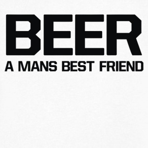 BEER A MANS BEST FRIEND - Men's V-Neck T-Shirt by Canvas