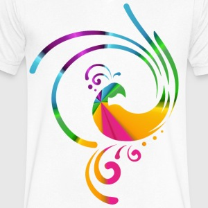 Colorful rolling bird - Men's V-Neck T-Shirt by Canvas