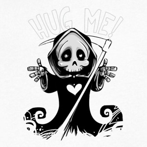 Cute Grim Reaper with Scythe Pointing - Free Hugs - Men's V-Neck T-Shirt by Canvas