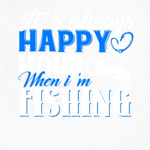 It's Always Happy Hour When I'm Fishing Tshirt - Men's V-Neck T-Shirt by Canvas