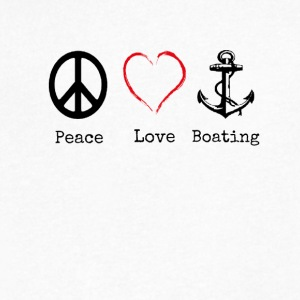 Peace Love and Boating, Funny Boating Gift - Men's V-Neck T-Shirt by Canvas