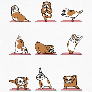 English Bulldog Yoga - Men's V-Neck T-Shirt by Canvas