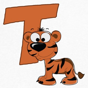 T Is For Tiger - Men's V-Neck T-Shirt by Canvas