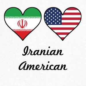 Iranian American Flag Hearts - Men's V-Neck T-Shirt by Canvas