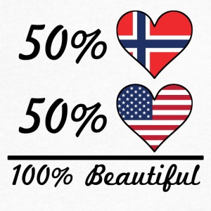 50% Norwegian 50% American 100% Beautiful - Men's V-Neck T-Shirt by Canvas