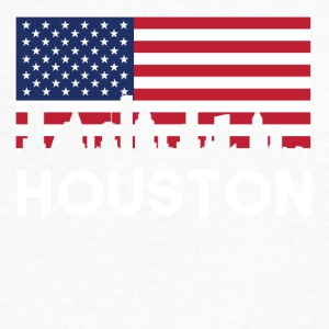 Houston TX American Flag Skyline - Men's V-Neck T-Shirt by Canvas