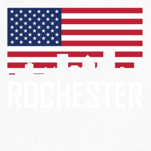 Rochester New York Skyline American Flag - Men's V-Neck T-Shirt by Canvas