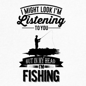 In my head I'm Fishing - Men's V-Neck T-Shirt by Canvas