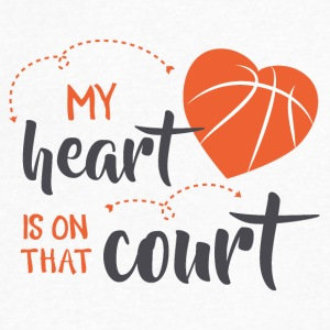 my heart is on that court - Men's V-Neck T-Shirt by Canvas