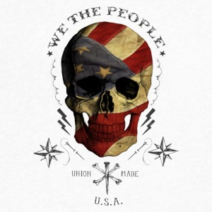 We The People American Flag wrapped skull - Men's V-Neck T-Shirt by Canvas