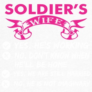 Soldiers Wife Yes Hes Working - Men's V-Neck T-Shirt by Canvas