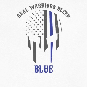 Real Warriors Bleed Blue - Men's V-Neck T-Shirt by Canvas