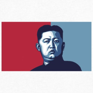 kim jong un illustration chinese press - Men's V-Neck T-Shirt by Canvas