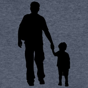 walking dad and son silhouettes - Men's V-Neck T-Shirt by Canvas