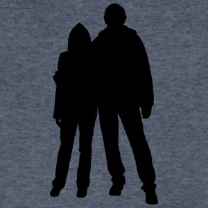 Happy couple silhouettes - Men's V-Neck T-Shirt by Canvas