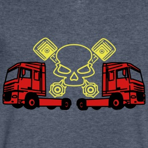 Piston Skull and Trucks - Men's V-Neck T-Shirt by Canvas