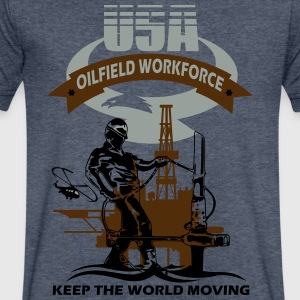 USA Oil Rig Workforce Keep The World Moving - Men's V-Neck T-Shirt by Canvas