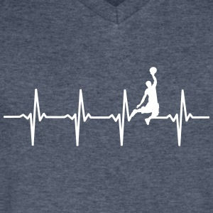 Basketball - Heartbeat - Men's V-Neck T-Shirt by Canvas