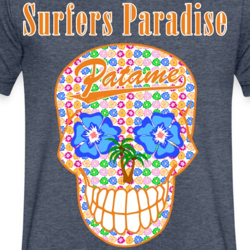 Patame Surfers Paradise Skull Orange - Men's V-Neck T-Shirt by Canvas