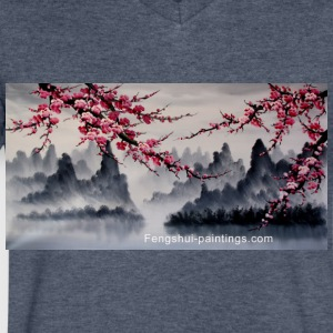 cherry-blossom-painting - Men's V-Neck T-Shirt by Canvas