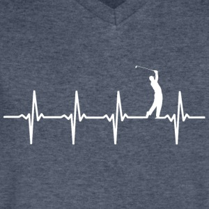 Golf - Heartbeat - Men's V-Neck T-Shirt by Canvas
