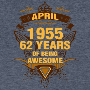 April 1955 62 Years of Being Awesome - Men's V-Neck T-Shirt by Canvas