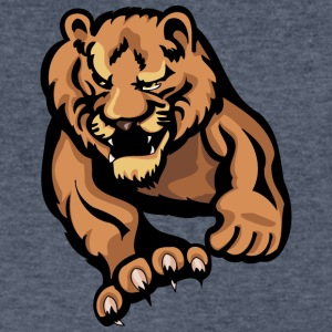 sharp_claw_big_lion_attacking - Men's V-Neck T-Shirt by Canvas