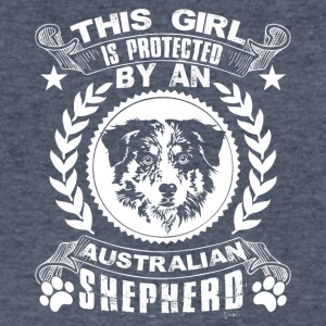 Protected By Australian Shepherd Shirt - Men's V-Neck T-Shirt by Canvas