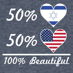 50% Israeli 50% American 100% Beautiful - Men's V-Neck T-Shirt by Canvas