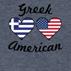 Greek American Flag Hearts - Men's V-Neck T-Shirt by Canvas