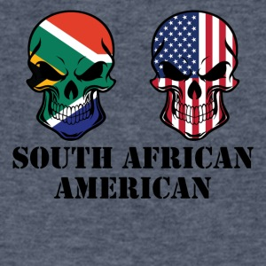 South African American Flag Skulls - Men's V-Neck T-Shirt by Canvas