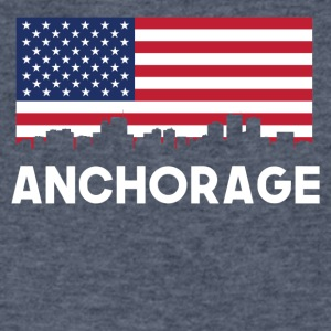 Anchorage AK American Flag Skyline - Men's V-Neck T-Shirt by Canvas