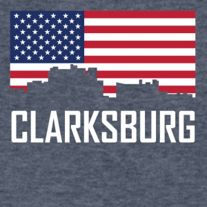 Clarksburg West Virginia Skyline American Flag - Men's V-Neck T-Shirt by Canvas