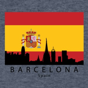 Barcelona Spain Skyline Spanish Flag - Men's V-Neck T-Shirt by Canvas