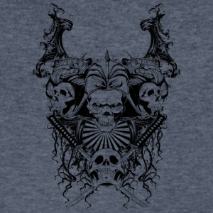 skulls_with_samurai_swords - Men's V-Neck T-Shirt by Canvas