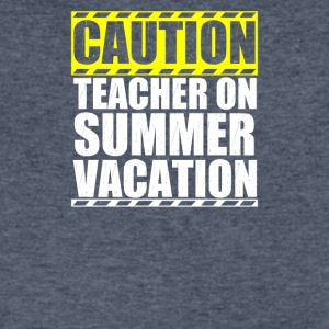 Caution Teacher On Summer Vacation - Men's V-Neck T-Shirt by Canvas