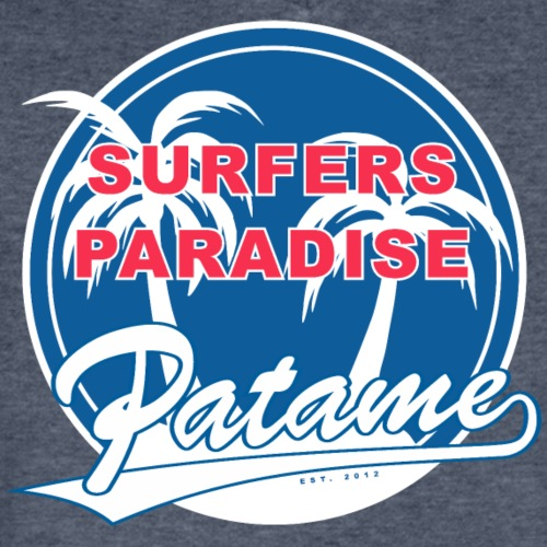 Patame Surfers Paradise BlueWhite - Men's V-Neck T-Shirt by Canvas