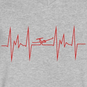 heartbeat glider plane - Men's V-Neck T-Shirt by Canvas